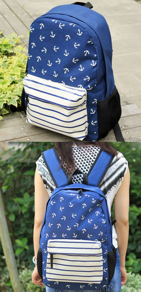 Navy Striped Anchor Print Backpack & School Bag for big sale! #anchor #stripe #navy #backpack #bag #rucksack #college #fashion #student #cute