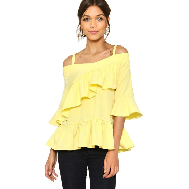 >> Click to Buy << Yellow flare sleeve strappy off the shoulder blouses for women  ruffle hem cold shoulder shirts ladies cute asymmetric tops #Affiliate