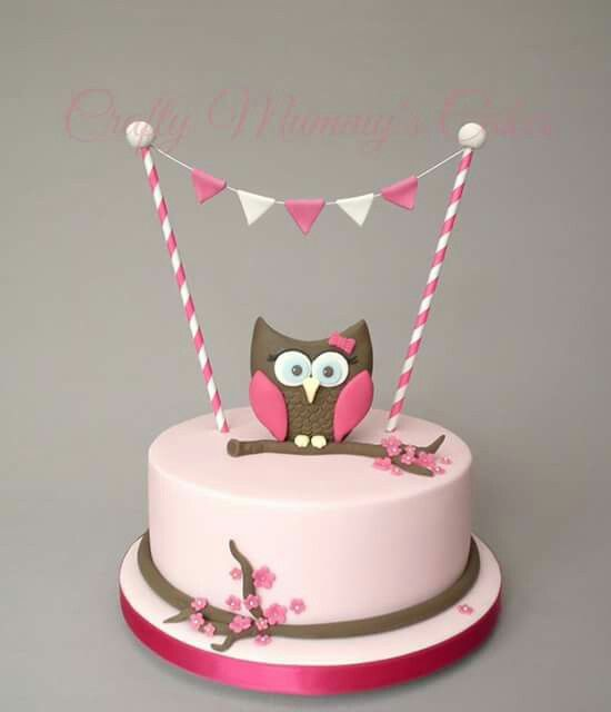 Pretty in pink owl baby shower cake