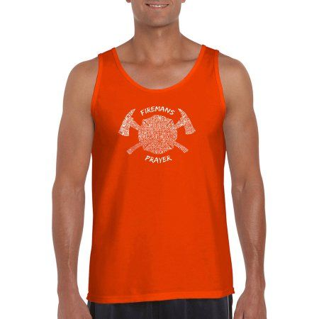 Los Angeles Pop Art Men's Tank Top - Fireman's Prayer, Size: XL, Orange