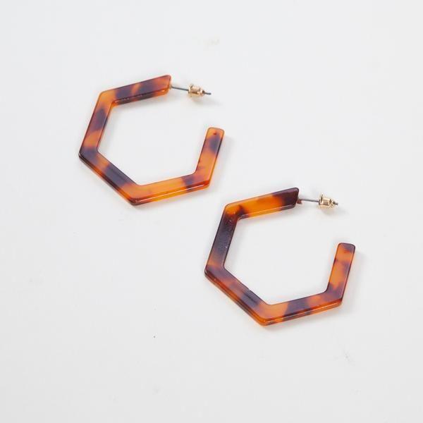 Big Metal London Chloe Tortoise Hexagonal Hoop Earrings Accessories Fashion Accessories Colorful Gifts