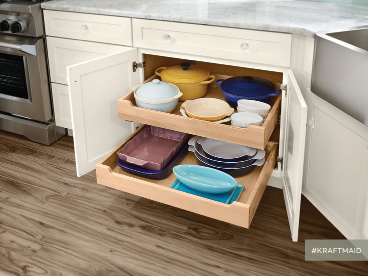 Deluxe Roll Out Trays Provide Access To Pans And Dishes Kept In The Back Of
