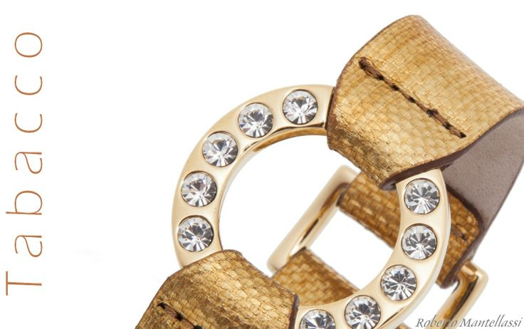 Tobacco B870 bracelets with gold accessory and crystals Swarovski Elements by Roberto Mantellassi