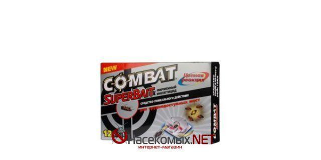 Комбат Супербайт - инсектицидное средство.  ДВ - гидрометилнон.  Используют Комбат Супербайт не только для уничтожения тараканов, но и для других вредных насекомых.  Купить ловушки Combat Super Bait (Комбат Супербайт) в нашем интернет-магазине.