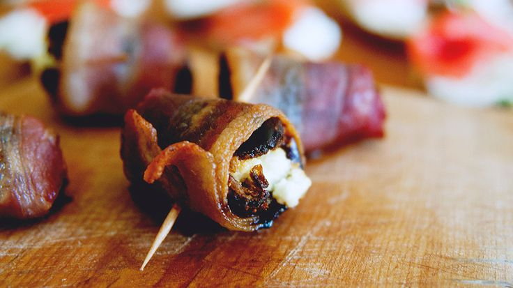 Devils on Horseback, goat cheese filled dates wrapped in bacon