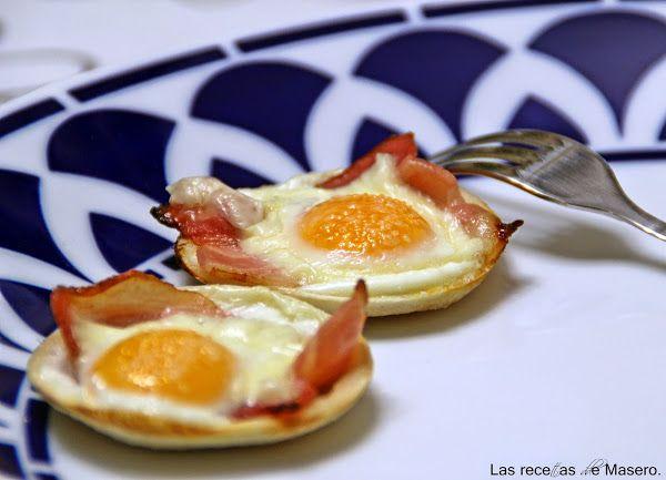Tartaletas de bacon con huevo