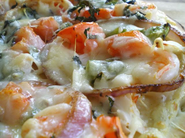 Awesome seafood pizza.  -can use your own pizza dough recipe  -double the bechamel sauce recipe  -leave out the dijon from the bechamel sauce and add a slightly crushed clove of garlic to it instead.  Remove the garlic just before adding sauce to pizza.