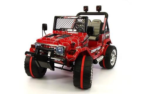 Jeep Wrangler Style 12V Kids Ride-On Car MP3 Battery Powered Wheels RC Remote | Spider Web Red