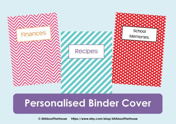 Personalised Printable Binder Cover and Matching Spine - Chevron Binder Cover, Hearts, Stripes Binder Cover - Organisation Available from: https://www.etsy.com/listing/153802937/personalised-printable-binder-cover-and?ref=shop_home_active