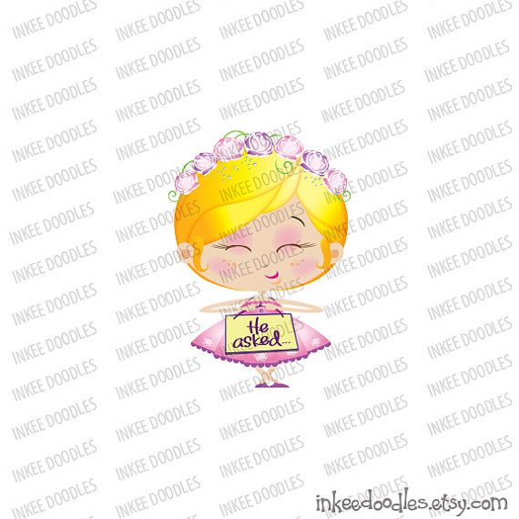 Flower Girl Cute Wedding Cartoon Pink Dress Illustration He Asked She Said Yes Adorable Little Girl Clip Art 30063, by Inkee Doodles, $6.00 USD for set of 20 pieces of clip art, #FlowerGirl #Cute #Wedding #Cartoon #PinkDress #Illustration #HeAskedSheSaidYes #Adorable #Little #Girl #ClipArt