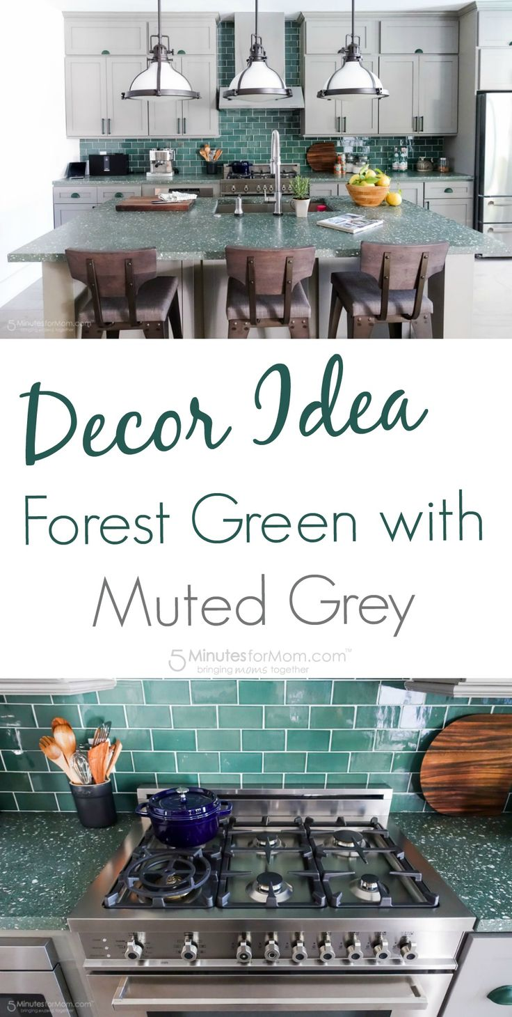 Decor Idea - Forest Green with Muted Grey Kitchen - Green subway tile, green accents on the cabinets, and green countertops made with concrete and shells. Photographic tour of the HGTV Dream Home. Sponsored.
