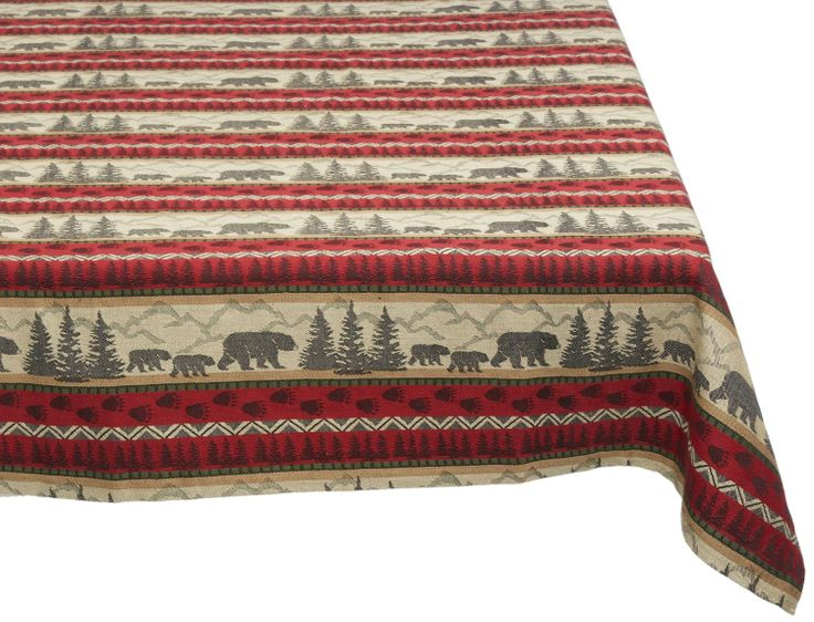Amazon.com   DII 100% Cotton, Machine Washable Tablecloth Bear Country  Jacquard 60x84