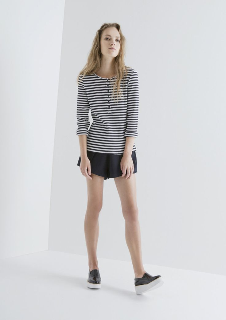 THE FIFTH - Lazy Moon Long Sleeve Top - Navy & White Stripe