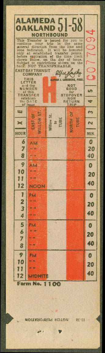 Transfer from East Bay Transit Co. (Oakland, California and ...
