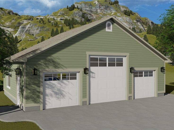 065g 0005 4 Car Garage Plan With Rv Bay 42 X30 Garage Building Plans Garage Door Design Garage Design Plans