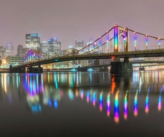 The falling snow made the lights on the Rachel Carson Bridge glow on Thursday night in #pittsburgh. Really cool to see!