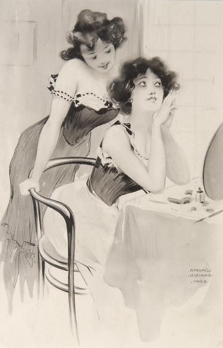 На туалетном столике, 1904 по Raphael Kirchner (1876-1917, Austria)
