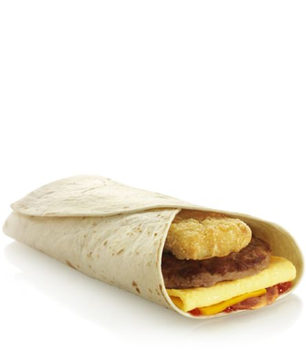 UK McDonald's offering... A pork sausage patty with a free range egg, tasty British bacon, potato rosti, cheese and ketchup or brown sauce - all wrapped in a soft tortilla...   (For those in England who prefer their heart to stop BEFORE the lunch rush)