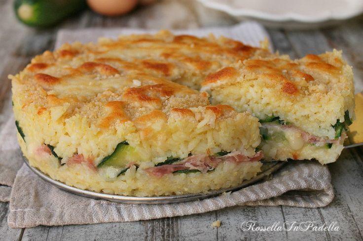 torta di riso con zucchine, prosciutto e fontina. Un piatto unico facile da preparare e molto gustoso, molto apprezzata da tutta la famiglia.