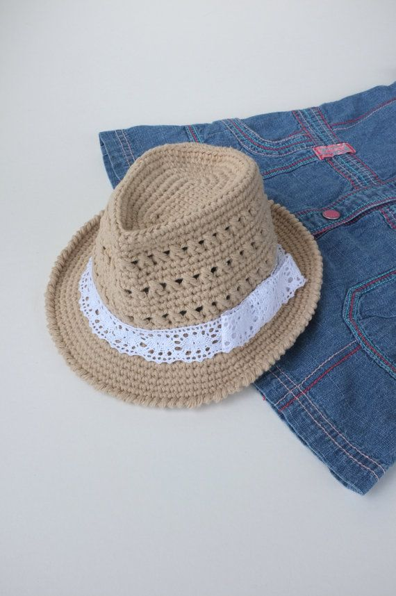 Adorable baby size [or custom] cute beige crochet fedora with lace band from talentef fellow Etsian in Canada ~  https://www.etsy.com/listing/227251310/baby-girl-fedora-hat-crochet-toddler