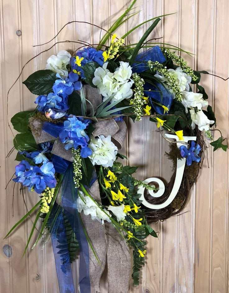 Spring Wreath for front door Monogram Wreath