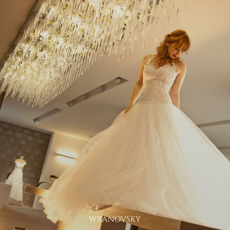 Beautiful wedding dresses and chandeliers go together perfectly, wouldn't you say? :) This is one of our modern creations for wedding center Adina in Prague.