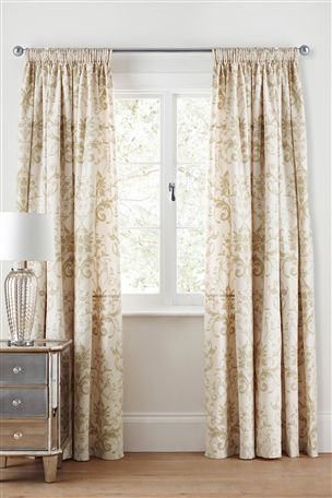 Gold Damask Curtains. Great addition to a #beige #bedroom.