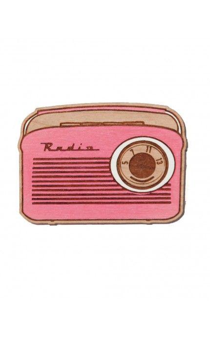 Retro Radio Brooch in Pink