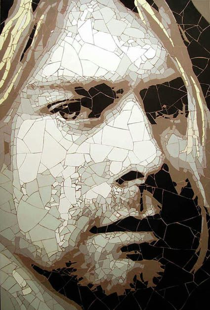 Mosaic portrait of Kurt Cobain - Ed Chapman I don't usually like mosaic portraits - this one is very good.