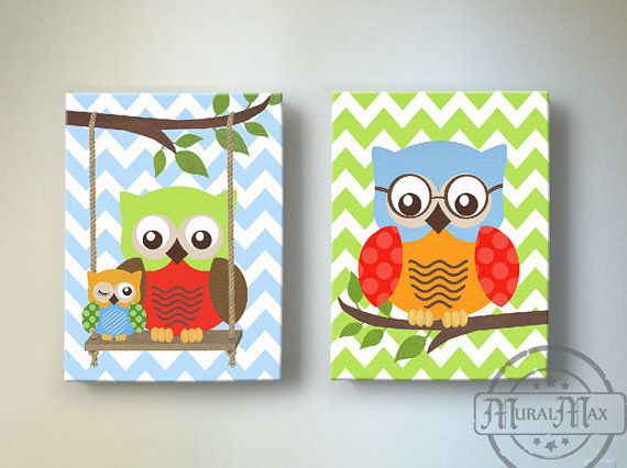 Baby Boy Owl Decor Owl Nursery Decor  Skip Hop Owl  by MuralMAX, $102.00