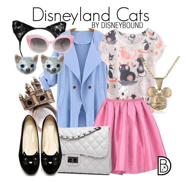 """""""Disneyland Cats"""" by leslieakay ❤ liked on Polyvore featuring Bense Bags, Crap, Disney, disney, cats, disneybound and disneycharacter"""