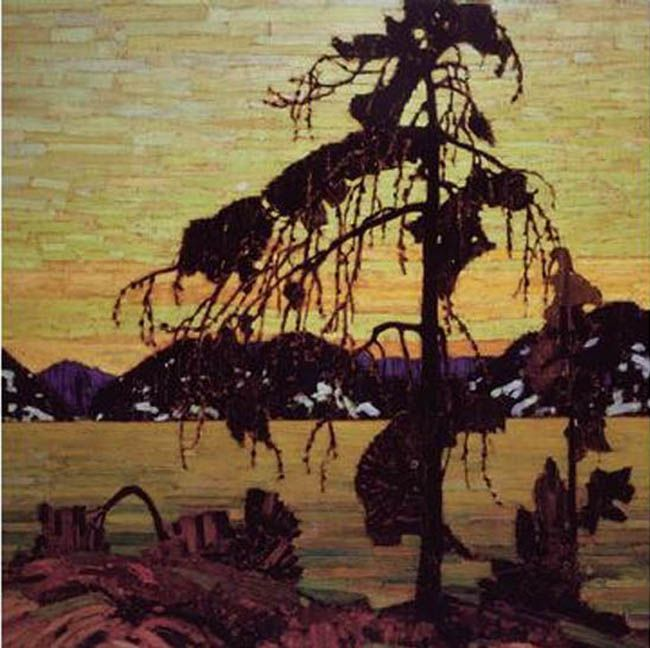☼ Painterly Landscape Escape ☼  landscape painting by Tom Thomson - Group of Seven - Jack Pine