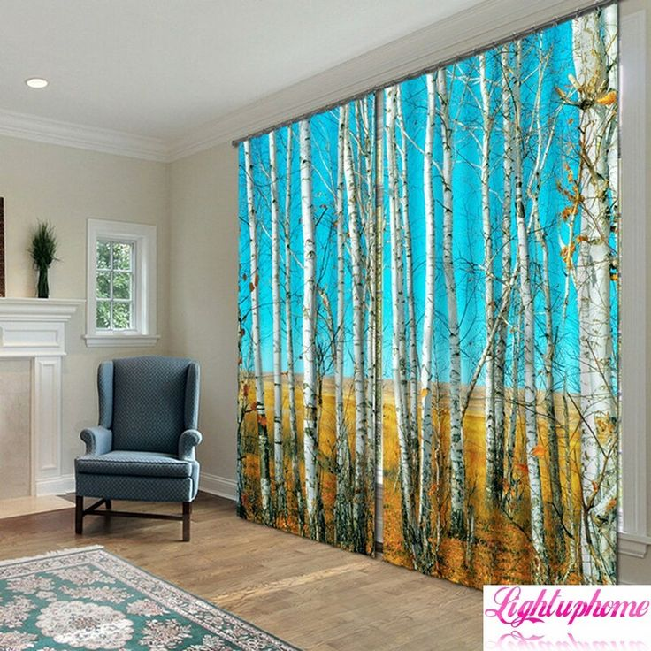 3d blackout curtains 3d print white tree trunk curtains3d curtains