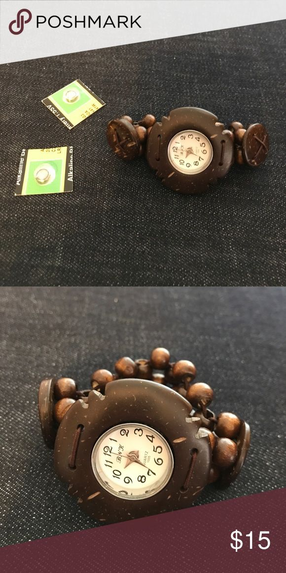 Coconut Shell Watch Brand new in package. Comes with two watch batteries. Save 20% when bundling three or more items. Jewelry Bracelets