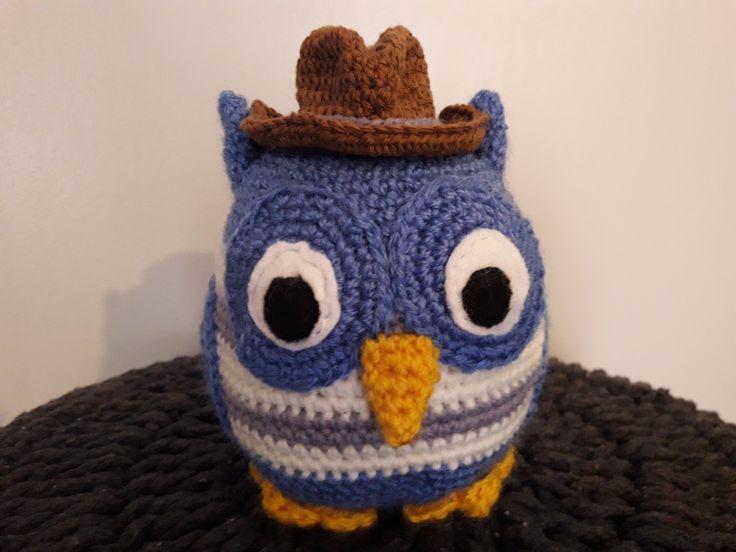 Hibou bleu avec chapeau de cow-boy - crochet amigurumi : Jeux, jouets par croque-crochet