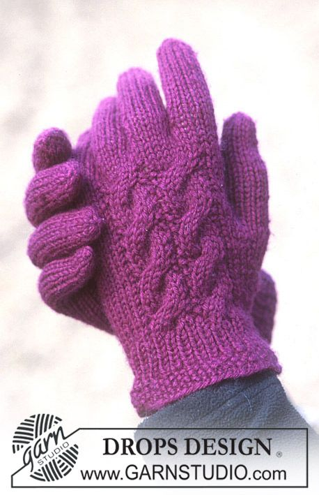 DROPS 93-43 - Gloves with cable pattern in Karisma Superwash