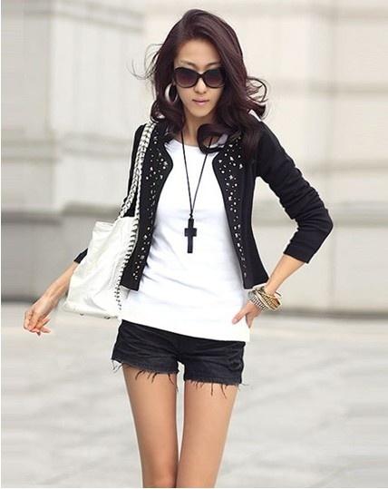 black studded collarless jacket + white tank + black shorts OR + black tank layered over white tank +  black pants.