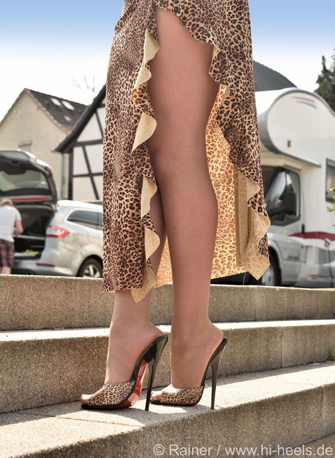 Leopard print mules and great legs
