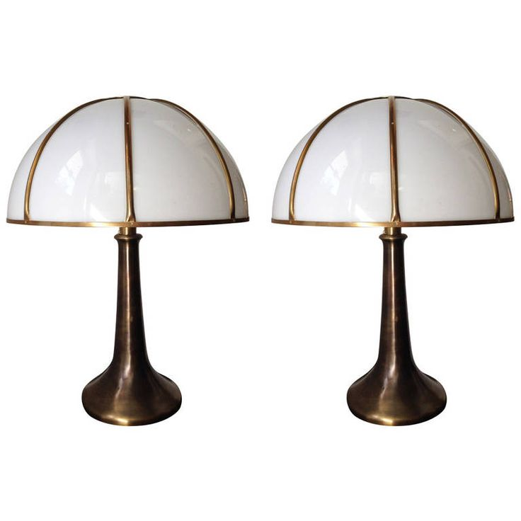 """Pair of """"Fungo"""" Lamps from Gabriella Crespi, Signed 