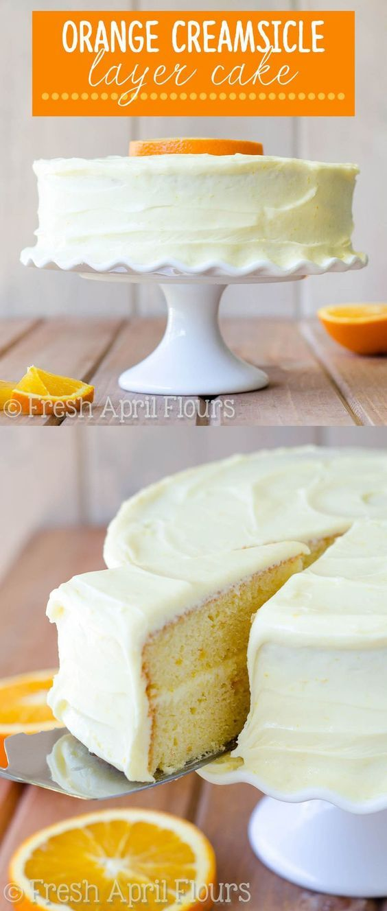 Orange Creamsicle Layer Cake: A moist and flavorful layer cake full of bright and zesty orange marmalade. Sunny orange cream cheese frosting makes this creamsicle cake irresistible!