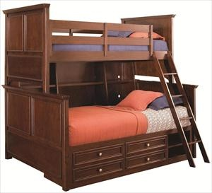Nebraska Furniture Mart Lea Industries Twin Over Full Bunk Bed With Storage And Bookcase