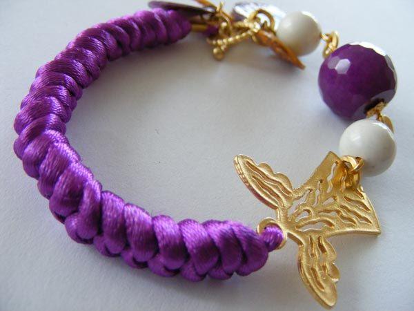 PURPLE BRACELET with satin cord,gemstone by MARYsworks on Etsy