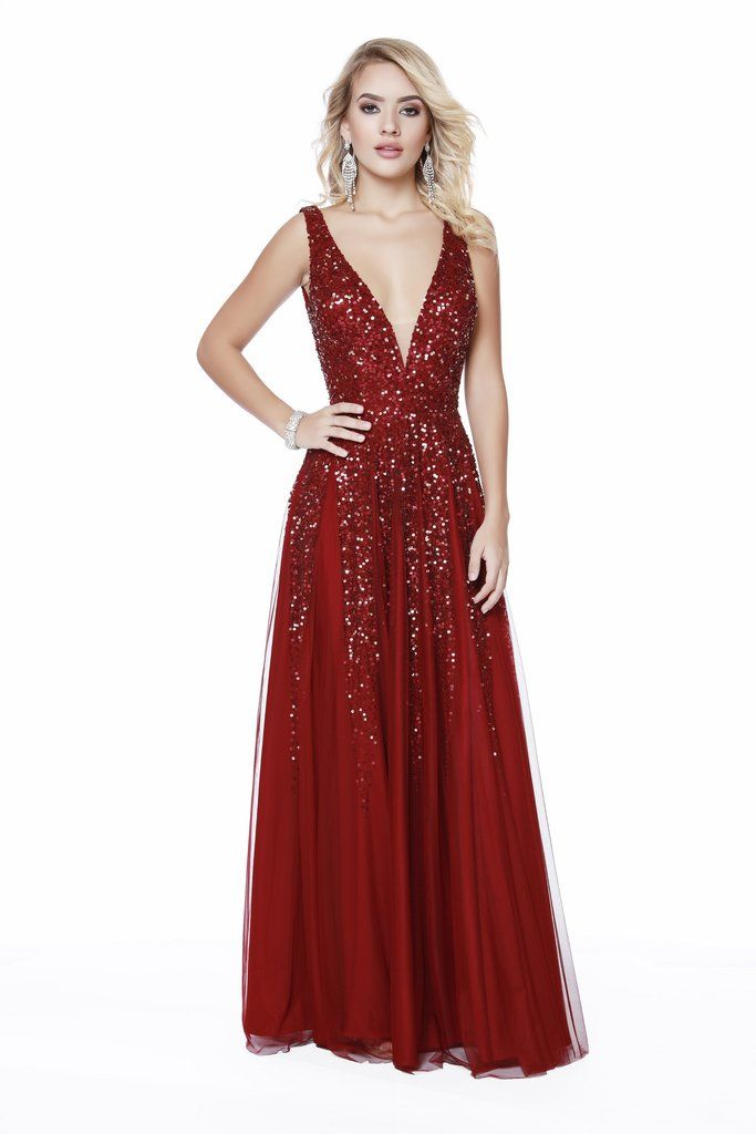 9655de2cfd2 Low V-Neck Fit to Flare Sequin Burgundy Prom Dress 12207 in 2019 ...