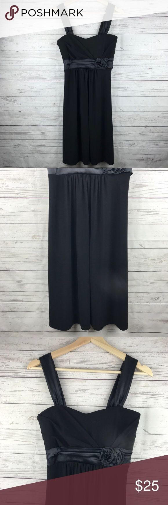 Little Black Dress Wide Spaghetti Straps Tie Waist Little Black Dress  Wide Spaghetti Straps  Brand: Taboo  Tie Back Waist  Size Large  Satin flower Detail Taboo Dresses Mini