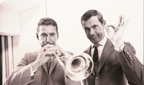 Doc Severinsen and Johnny Carson on the set of The Tonight Show. Photo courtesy of The Tonight Show.