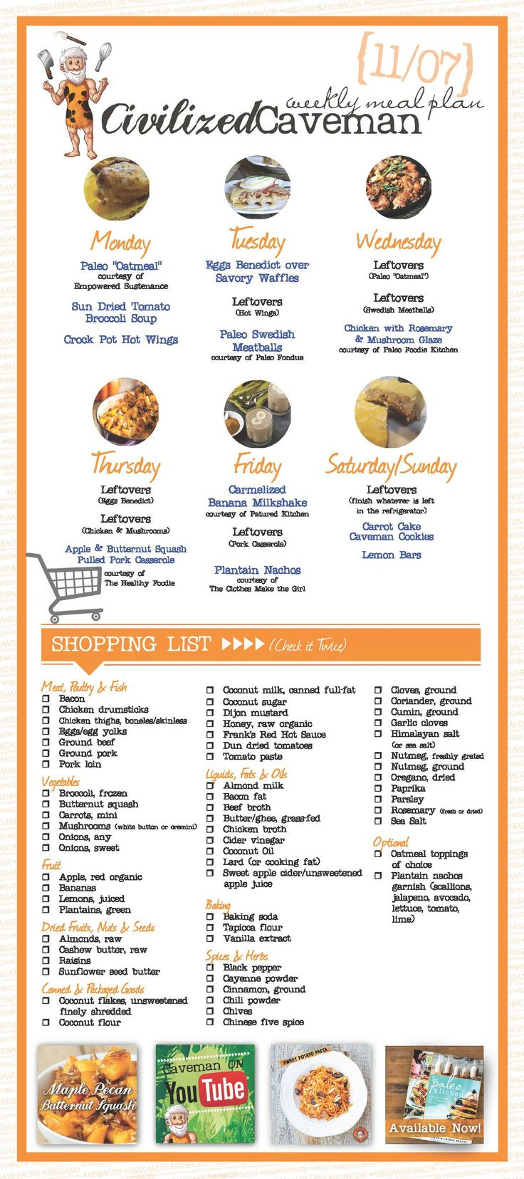 Weekly Paleo Meal Plan for November