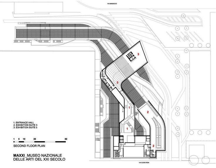MAXXI museum Rome Zaha Hadid second floor plan
