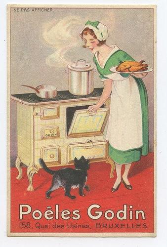 Lady & Black Cat advertising Gosin Woven original old 1910s....réépinglé par Maurie Daboux .•*`*•. ❥