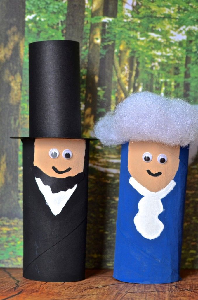 President Lincoln & Washington Toilet Paper Tube recycled Craft for Kids