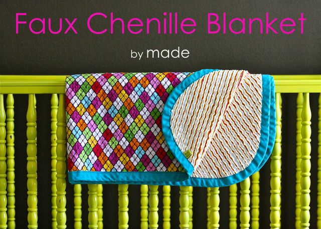 Chenille blanket - Wow! And I think making a scarf is a lot of sewing and cutting. Take a look at this beautiful blanket